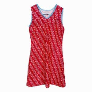 Nike Dri Fit Tennis Dress L Red Print Swoosh Logo